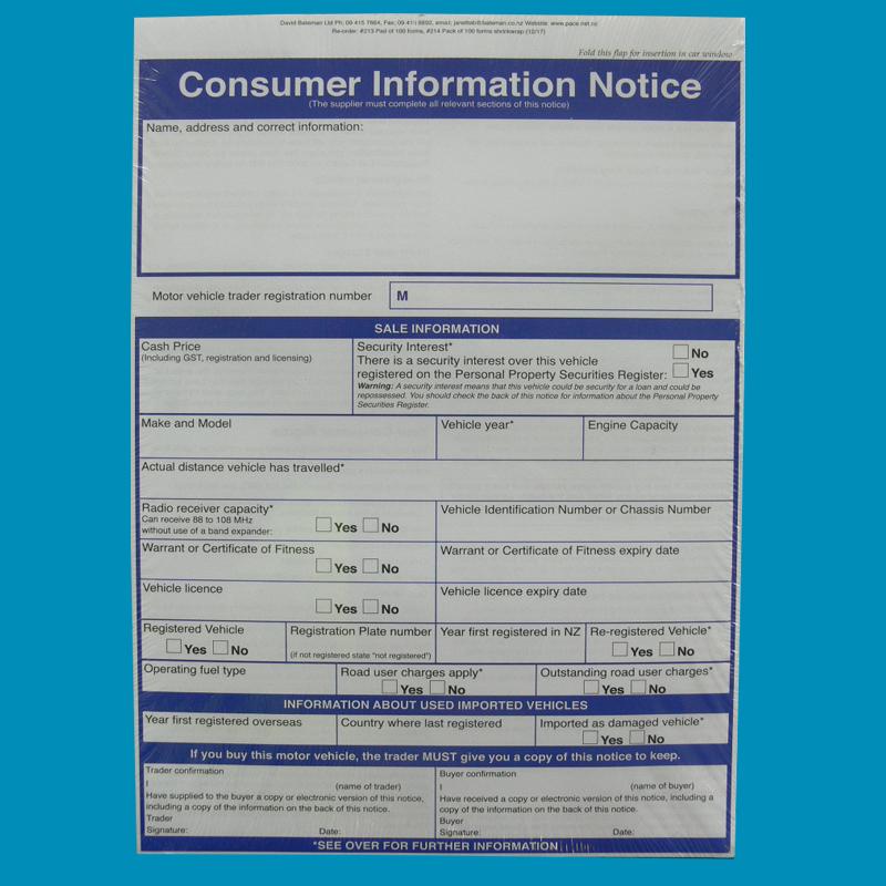 Consumer Info Notice Pad 100