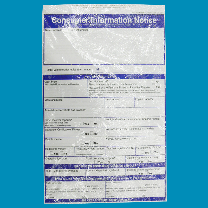 Consumer Info Notice Pack 100