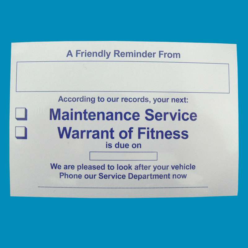 WOF Service Reminder Cards Pack 100
