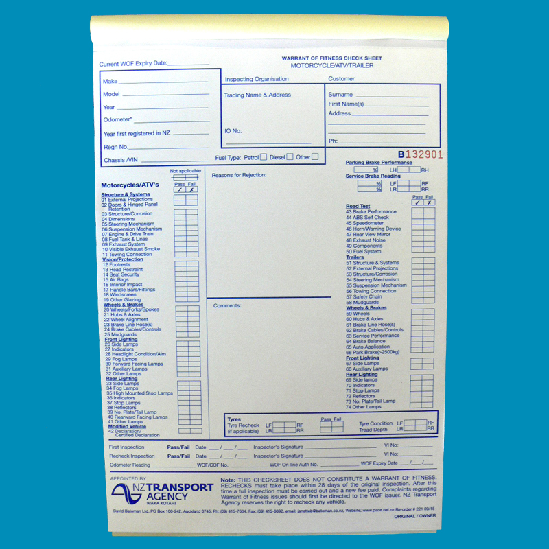 WOF Check Form M/Cycle Pad 50