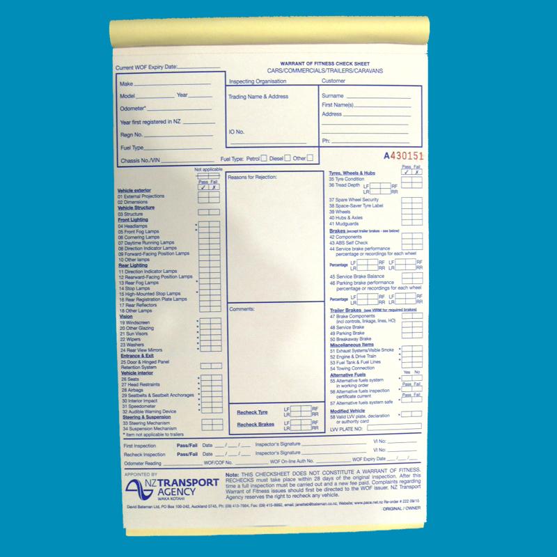 WOF Check Form Car Pad 50