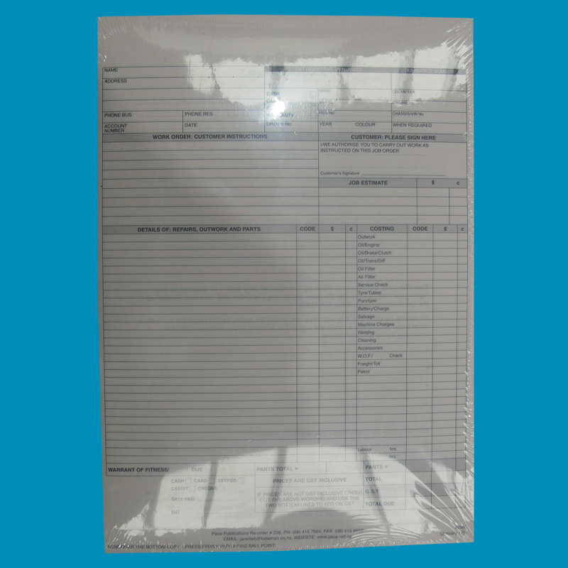 3 in 1 Job Sheet/Inv M/Vehicle Pack 200